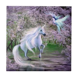 Spring Unicorn fantasy Ceramic Tile