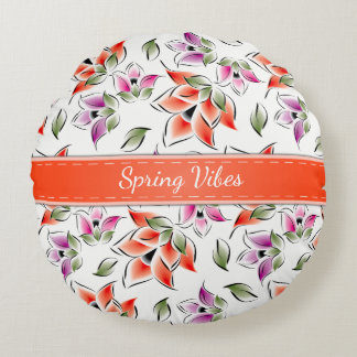 Spring Vibes, Floral Round Cushion