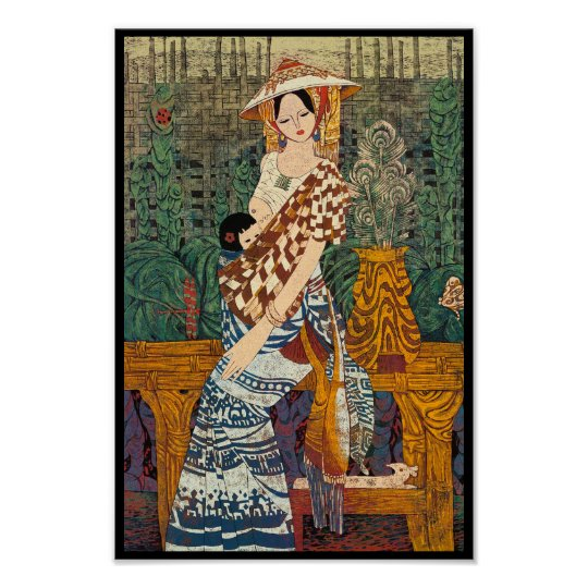Spring Warmth Chen Yongle oriental lady and child Poster