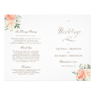 Spring Watercolor Floral Folded Wedding Program Flyer