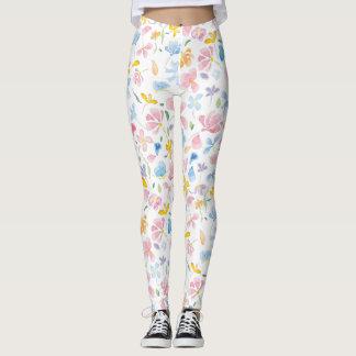 Spring watercolor flowers leggings