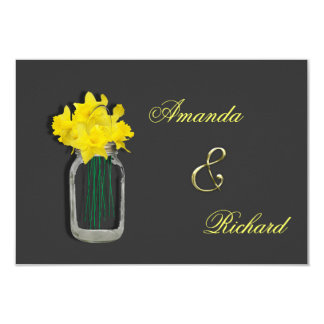 Spring Wedding Daffodils Mason Jar Invites