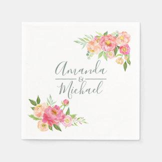 Spring Wedding watercolor Peonies Disposable Serviette