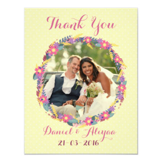 Spring Wedding Wreath Thank you Message 11 Cm X 14 Cm Invitation Card