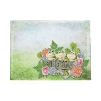 Spring - Welcome 3 Cute Frogs Doormat