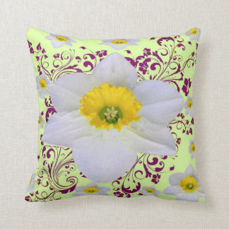 SPRING WHITE DAFFODILS  FLOWERS DELICATE PATTERN CUSHION