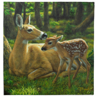 Spring Whitetail Fawn and Mother Deer Napkin