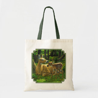 Spring Whitetail Fawn and Mother Deer Tote Bag