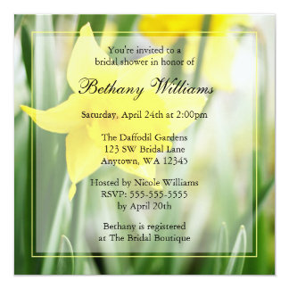 Spring Yellow Daffodil Flowers Bridal Shower 13 Cm X 13 Cm Square Invitation Card
