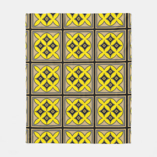 Spring yellow Easter mandala pattern Fleece Blanket