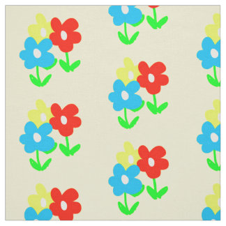 Spring yellow red blue flowers artwork fabric