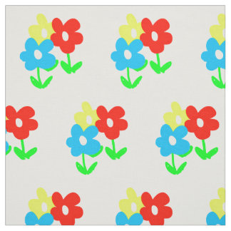 Spring yellow red blue flowers on white fabric