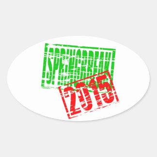Springbreak 2015 rubber stamp effect oval sticker