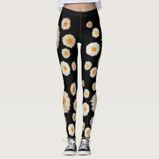SpringCustom Leggings , White daisies floral art