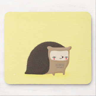 springe hedgehog cute forest critter on yellow mousepad