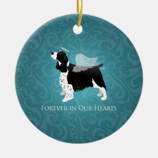 Springer Spaniel Angel Dog Pet Memorial Design Round Ceramic Decoration