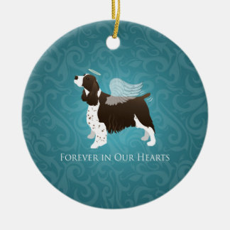 Springer Spaniel Angel - Pet Memorial Round Ceramic Decoration