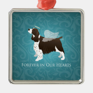Springer Spaniel Angel - Pet Memorial Silver-Colored Square Decoration