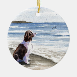 Springer Spaniel At The Beach Round Ceramic Decoration