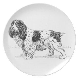 Springer Spaniel Bird Hunting Dog Breed Drawing Dinner Plates