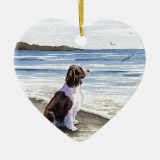 Springer Spaniel Ceramic Heart Decoration
