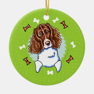 Springer Spaniel Christmas Wreath Round Ceramic Decoration