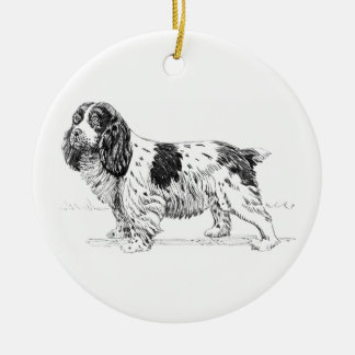 Springer Spaniel Dog Drawing Round Ceramic Decoration