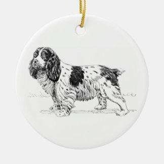 Springer Spaniel Dog Drawing Round Ceramic Decoration