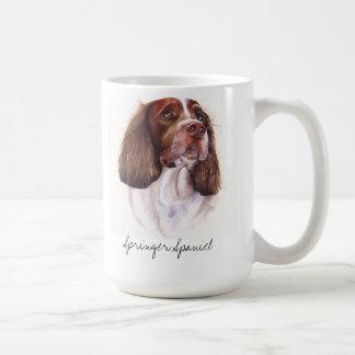Springer Spaniel Dog Portrait in Watercolour Basic White Mug