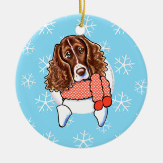 Springer Spaniel Let it Snow Round Ceramic Decoration