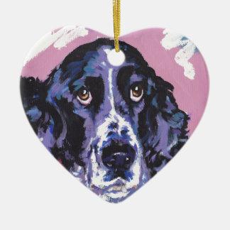 springer spaniel pop art ceramic heart decoration