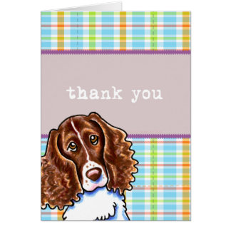 Springer Spaniel Pretty Plaid Thank You Greeting Card
