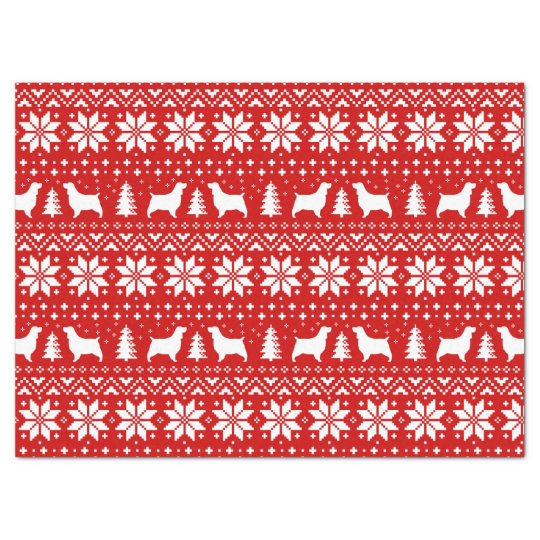 Springer Spaniel Silhouettes Christmas Pattern Red Tissue Paper
