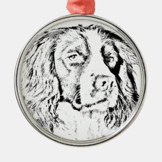 Springer spaniel Silver-Colored round decoration