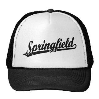 Springfield script logo in black hats