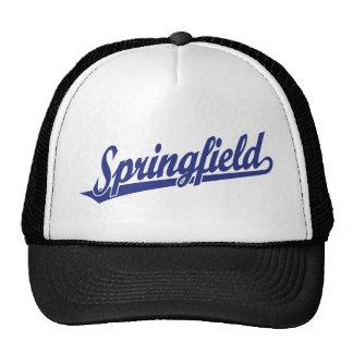 Springfield script logo in blue trucker hats