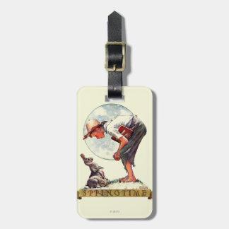 Springtime, 1935 boy with bunny luggage tag