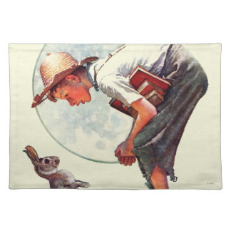 Springtime, 1935 boy with bunny placemat