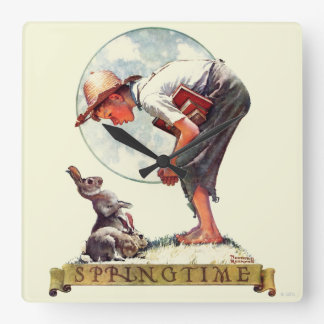Springtime, 1935 boy with bunny square wall clock