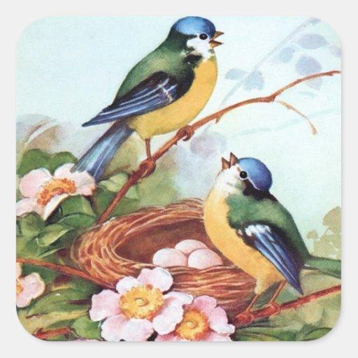 Springtime Bluebirds Nest Sticker