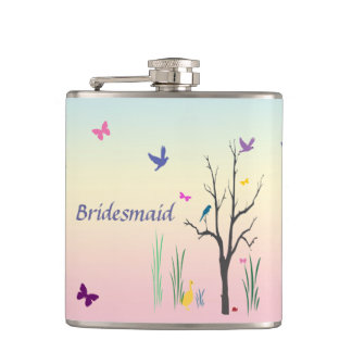 Springtime Bridesmaid Hip Flask