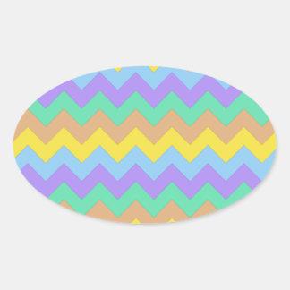 Springtime Chevron Oval Sticker
