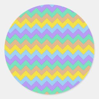 Springtime Chevron Classic Round Sticker