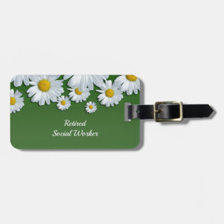 Springtime Flowers, White and Yellow Daisies Bag Tag