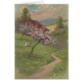 Springtime Girl on A Hillside Trail Card