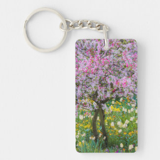 Springtime in Claude Monet's garden Double-Sided Rectangular Acrylic Key Ring