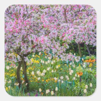 Springtime in Claude Monet's garden Square Sticker
