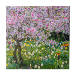 Springtime in Claude Monet's garden Tile
