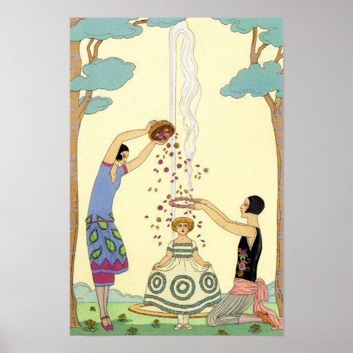 Springtime in France Art Deco Poster