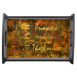 Springtime in Paris with Gold lettering Serving Tray